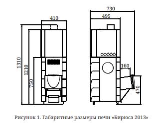 Печь для бани Бирюса 2013 Carbon ДА ЗК антрацит размеры