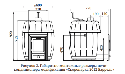 TMF Скоропарка Баррель 2012 Inox Люмина палисандр Размеры