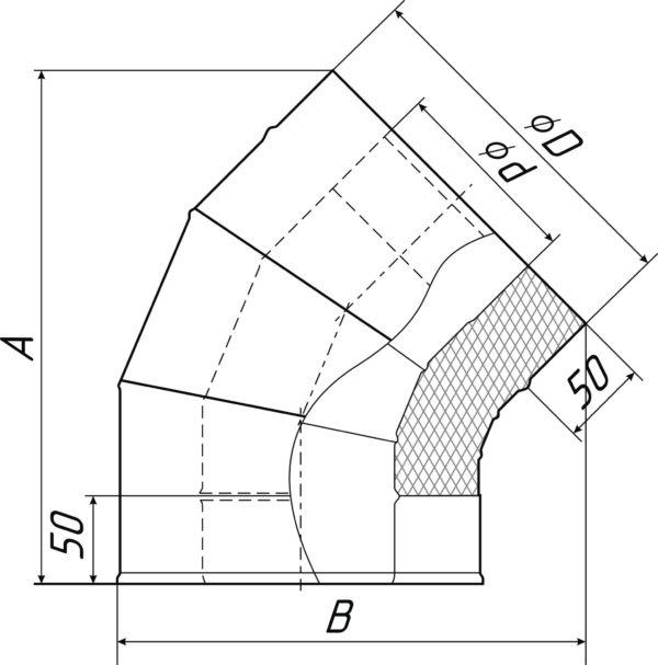 Отвод-сэндвич 135 ТМФ размеры
