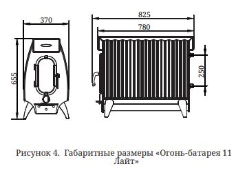 ТМФ Огонь Батарея 11 Лайт Размеры
